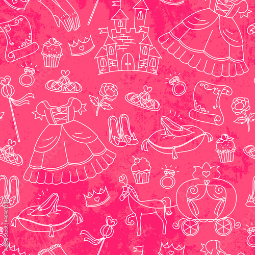 seamless pattern with things related to princesses