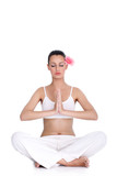 tranquil woman meditating