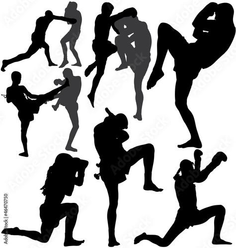 Muay Thai (Thai Boxing) vector silhouettes