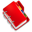 Red folder with colorful bookmarks icon