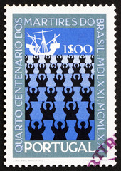 Postage stamp Portugal 1971 Missionaries and Ship