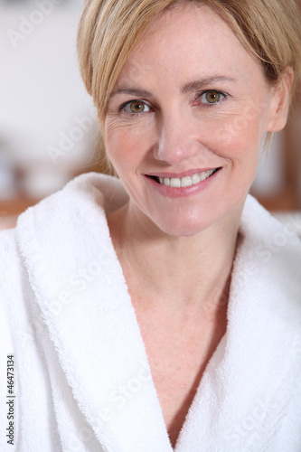 Portrait of a woman wearing a bathrobe