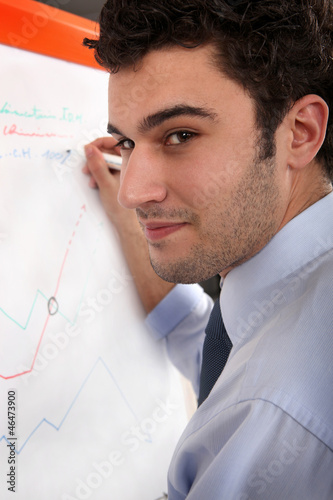 Man writing on a flip chart