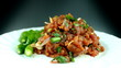 Larb pork on a plate. Traditional Thai food