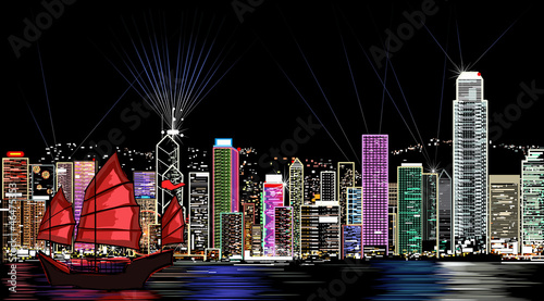 vector illustration of Hong Kong by night