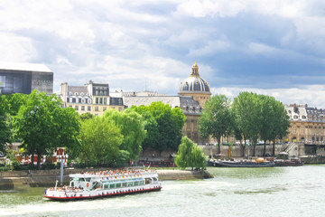 Pleasure boat on the Seine in Paris. France