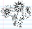 Sketchy Doodle Henna Flowers and Vines Vector