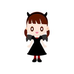 仮装をする女の子 悪魔の衣装