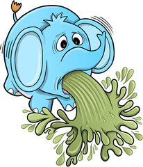 Barfing Vomiting Elephant Vector