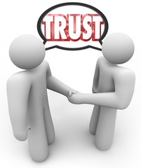 Trust Word Two People Handshake Speech Bubble