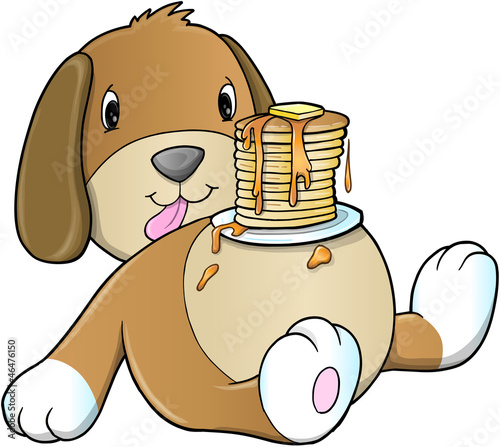 Cute Puppy Dog Pancake Breakfast Vector