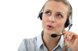 Blond call center worker helping customer over the phone