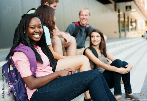 Young woman smiling with friends