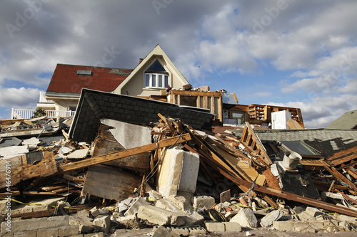Foto op Canvas Onweer Hurricane Sandy destruction