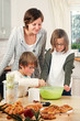 kids preparing a yeast dough
