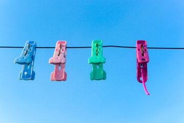 colorful clothes pins for hanging the laundry