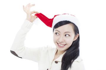 サンタ帽を被った女の子