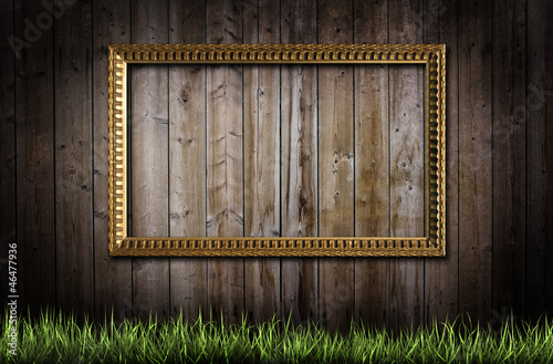 Frame and grass over background