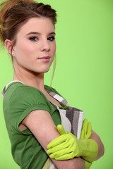 Woman wearing apron