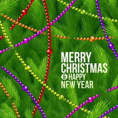 Christmas tree branches and color beads - holidays background
