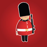 British Queen's Guard infantry cute character.