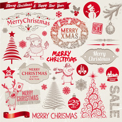 Vector set of Christmas signs, emblems and symbols