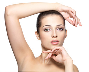 Beauty face of young woman. Skin care concept.
