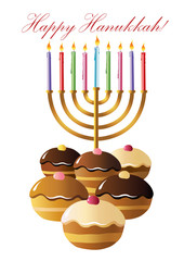 Hanukkah menorah with  candle and  doughnut