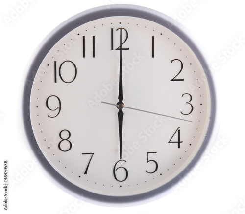 isolated white clock at six