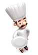 Holding the dish chef a plate. 3D Chef Character Design