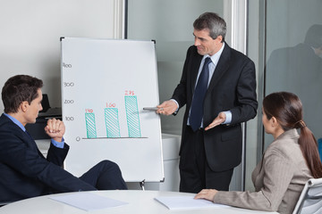 Geschäftsleute hören Präsentation beim Meeting