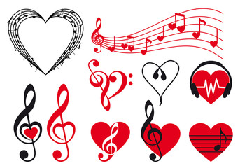 music hearts set, vector design elements