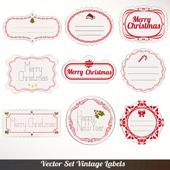 Set of vector Christmas labels, old dirty paper textures