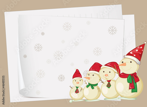 paper sheets and snowmen