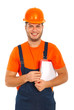 Happy construction worker with clipboard