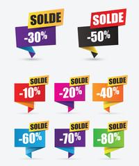soldes, réduction, étiquettes promo, vente flash