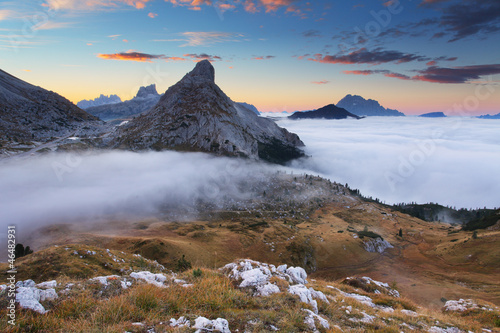 Mist in the mountain In  dolomites - passo Valparola