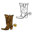 Cowboy boot shoe leather west western spur