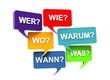 W-Fragen in Sprechblasen