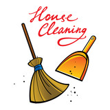House Cleaning broom brush dust dirt service shovel