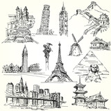 Fototapety Travel the world - hand drawn collection