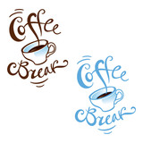 Coffee Break lunch office porcelain cup rest cafe restaurant poster