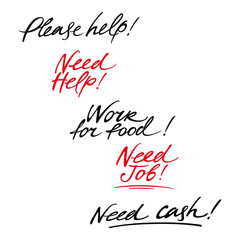 Help messages asking about job, money and food