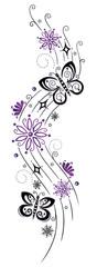 Ranke, Blumen, Blüten, Schmetterlinge, lila, violett