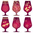 Set of purple Christmas glasses
