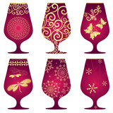 Set of purple Christmas glasses