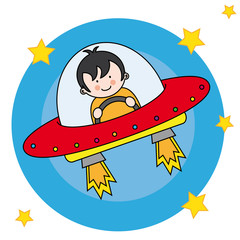 Niño volando en una nave espacial