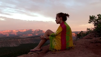 Girl at Sunset in Zion National Park, Utah, USA