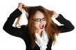 Stressed business woman is going crazy