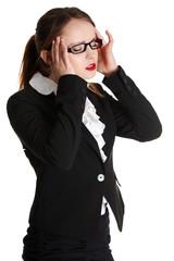 Business woman heaving headache